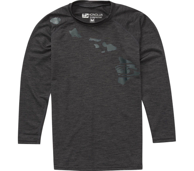 HONOLUA SURF KIDS BOYS HEATHERED LINK LS RASHGUARD