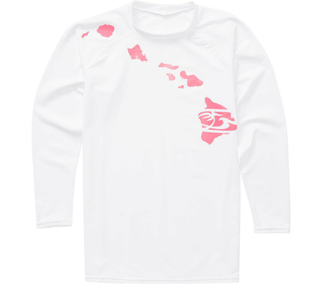 HONOLUA SURF KIDS GIRLS HEATHERED LINK LS RASHGUARD