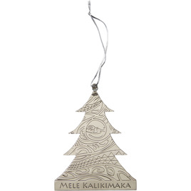 HONOLUA SURF MELE-KALIKIMAKA-COLLECTION-GIFT-GUIDE TRIBAL TREE ORNAMENT SILVER