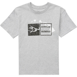 HONOLUA SURF KIDS BOY'S DOUBLE DOUBLE SS TEE HEATHER GREY