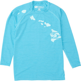 HONOLUA SURF KIDS BOYS HEATHERED LINK LS RASHGUARD TURQUOISE