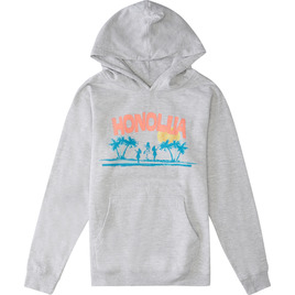 HONOLUA SURF KIDS HULA HOODED PULLOVER FLEECE GREY HEATHER