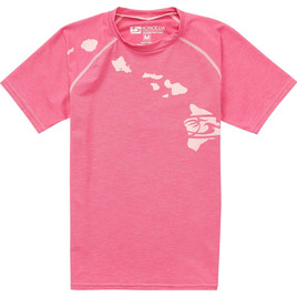 HONOLUA SURF KIDS GIRLS HEATHERED LINK SS RASHGUARD