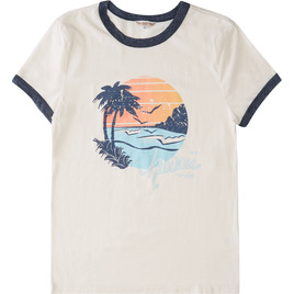 HONOLUA SURF - TEES PEACEFUL SHORT SLEEVE RINGER TEE WHITE/NAVY