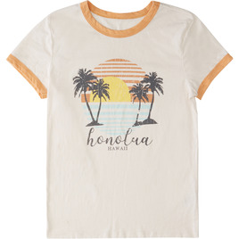 HONOLUA SURF - TEES TRANQUIL SHORT SLEEVE RINGER TEE WHITE/YELLOW