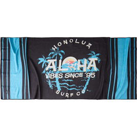 HONOLUA SURF MENS-HAWAIIAN-TOWELS DIAMOND HEAD TOWEL BLACK