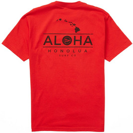 HONOLUA SURF CLOTHING ALOHA CHAIN SHORT SLEEVE TEE RED