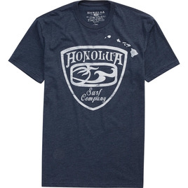 HONOLUA SURF MENS-HAWAIIAN-CLOTHING CRESTED TEE NAVY