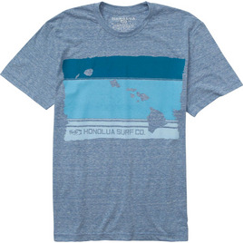 HONOLUA SURF MENS-HAWAIIAN-CLOTHING ISLAND BLOCK TEE LIGHT BLUE