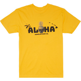 HONOLUA SURF CLOTHING SKULL ISLAND SHORT SLEEVE TEE GOLD