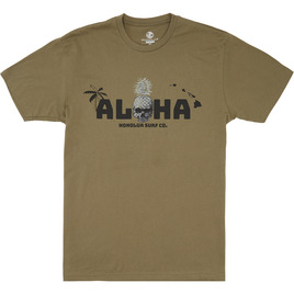 HONOLUA SURF CLOTHING SKULL ISLAND SHORT SLEEVE TEE MILITARY