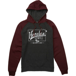 HONOLUA MENS-HAWAIIAN-FLEECE LIFETIME HOODED PULLOVER FLEECE BURGUNDY HEATHER