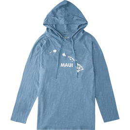 HONOLUA SURF CLOTHING MAUI PULLOVER T-SHIRT HOODIE SLATE
