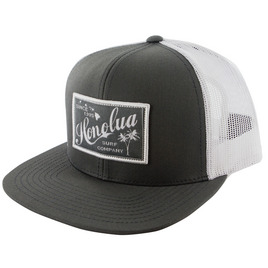 HONOLUA SURF MENS-HAWAIIAN-HATS RETRO RECTANGLE TRUCKER HAT GREY