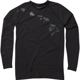 HONOLUA SURF - RASHGUARDS HEATHERED LINK LONG SLEEVE RASHGUARD UPF 30+ BLACK HEATHER