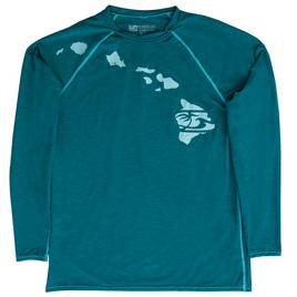 HONOLUA SURF - RASHGUARDS HEATHERED LINK LONG SLEEVE RASHGUARD UPF 30+ JADE