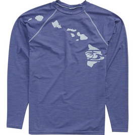 HONOLUA SURF - RASHGUARDS HEATHERED LINK LONG SLEEVE RASHGUARD UPF 30+ NAVY HEATHER